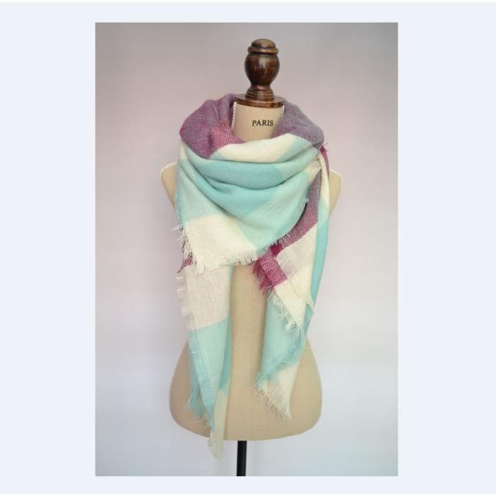 Écharpe Chale Femme Cachemire Chaud Automne Hiver Grand Plaid Tissu Glands  Foulard 140 140CM d06ba92aeea