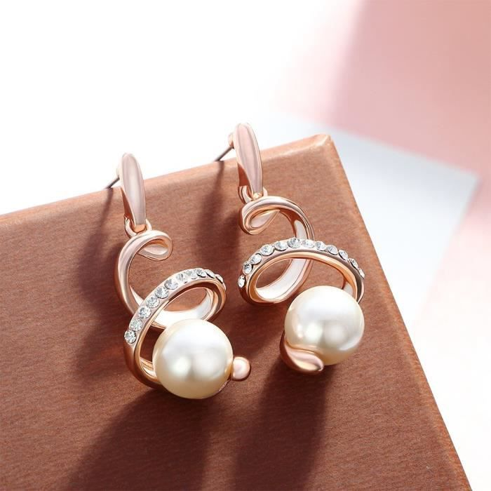 Womens Crystal Rose Gold Plated Snake Earrings Cream Simulated Pearl Dangle Earrings ForB28B7