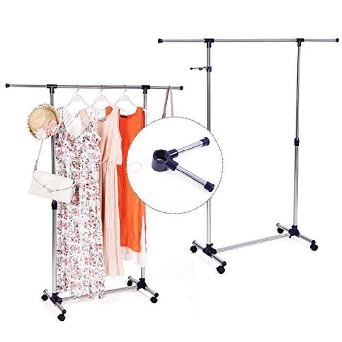 Portant - Penderie À Vêtement Hauteur Et Largeur Réglables Avec Roulettes Llr01L