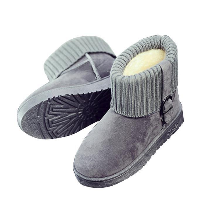 Femme Boots Fourré Ankle en Mode Simple Plateau pour Outdoor