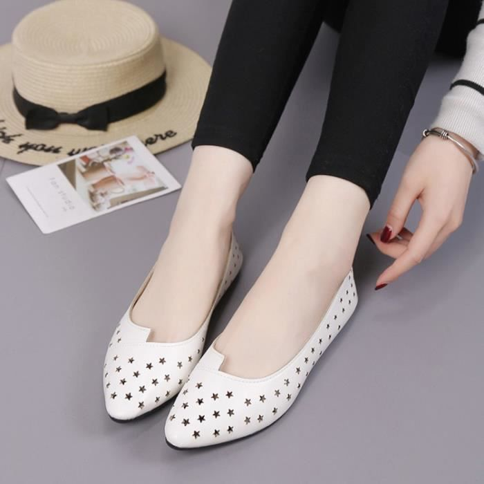 Femmes uji Toe on Comfortable Slip Hollow Blanc Casual Pionted Shoes 6804 Lazy Flats pPqrpS