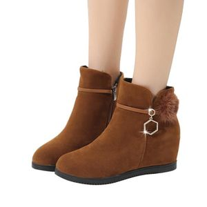 e3df6258f575 BOTTE Femmes Suede Hairball Compensées bout rond Chaussu