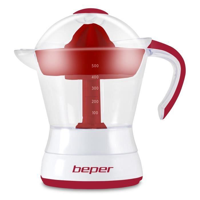 BEPER 90.304H Presse agrumes électrique - 50 cl - 30 W - Blanc et Rouge