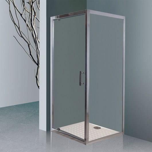 CREAZUR Porte de douche accès d'angle pivotante + paroi fixe Nerina - 90 x 190 cm + 90 x 190 cmm - Verre trempé 6 mm