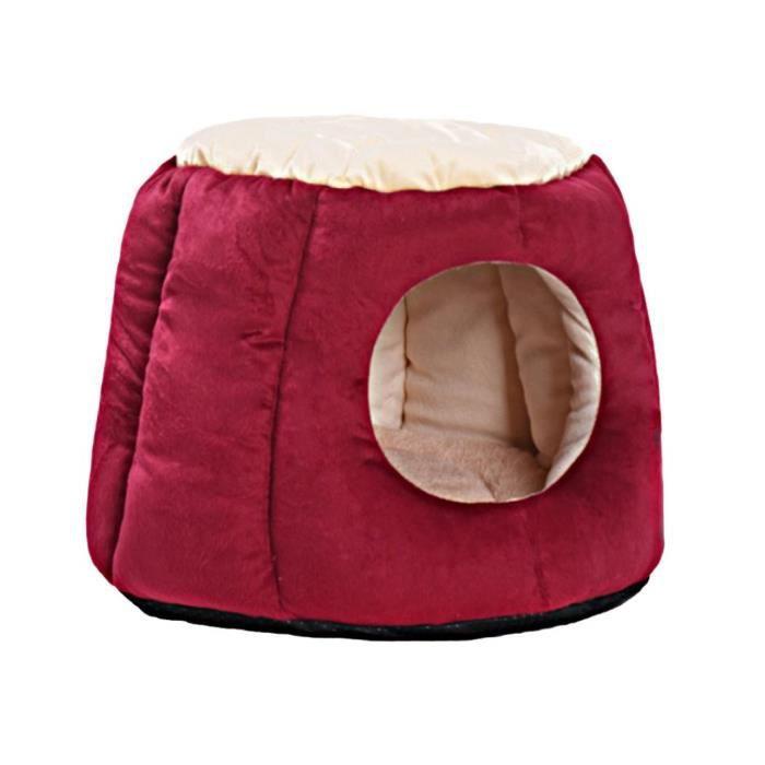 Grotte Forme Chien Chat Lit De Chiot Nid Coussin Maison Respirant Kennel Couverture Rouge L