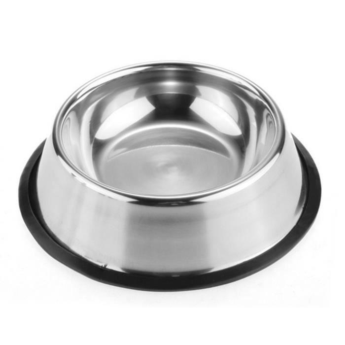 Nouveau Utiles En Acier Inoxydable Aucune Astuce Non Déraper Chien Chat Chiot Animal De Dish Alimentaire Eau Bol 30cm