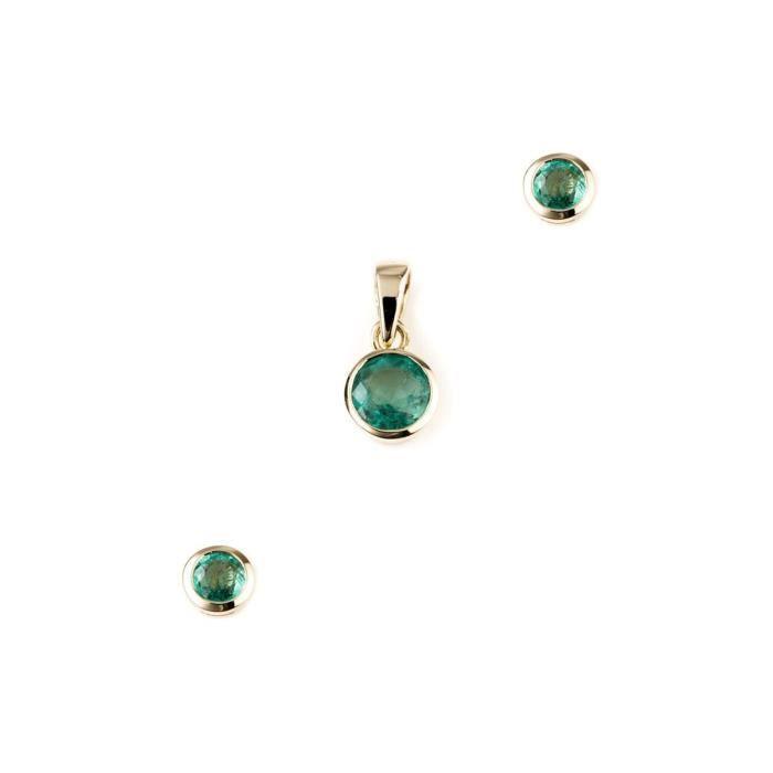 2019 meilleurs jolie et colorée profiter de prix discount Jaipuri. Or – Set Instyle Bijoux Femme – 585 (14 carats) – Kit avec  émeraude AA de qualit & # x4d20;-p5746ze-e3937ze