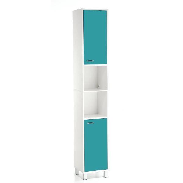 Colonne salle de bains bleu turquoise achat vente colonne armoire sdb colonne salle de for Salle de bain bleu turquoise