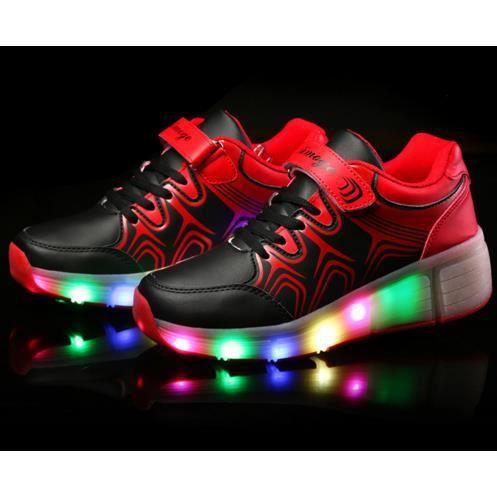 Enfants Chaussures Heelys par des lumières DEL enfants chaussures à roulettes avec roues résistant à l'usure pour les garçons Fille