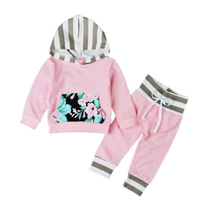 6ba52080ea800 Bébé Fille 2 Pcs Ensemble de Vêtement Rose Fleur Nouveau-né   Sweat à  Capuche + Pantalon