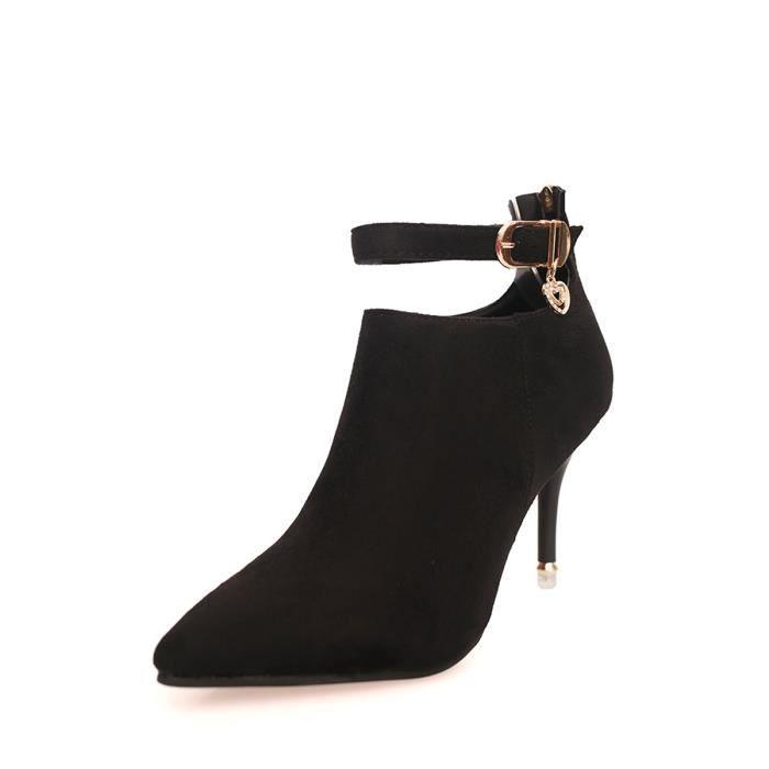 Bottes Martin Buckled sélectionl talon mince élégant Chaussures Chic féminin 8669484