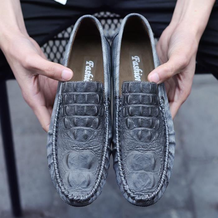 Nouveau Printemps Hommes en cuir véritable crocodile en cuir fou Driving Chaussures Hommes Mocassins doux Doug Chaussures en wKX9x