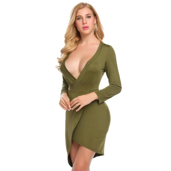 Femme robe crayon V-col profond sexy manches longues couleur pure