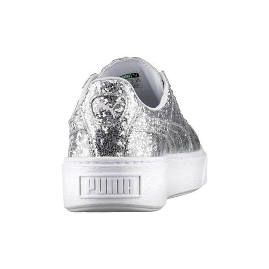 Baskets Puma Basket Plataform Glitter Silver Argenté Achat