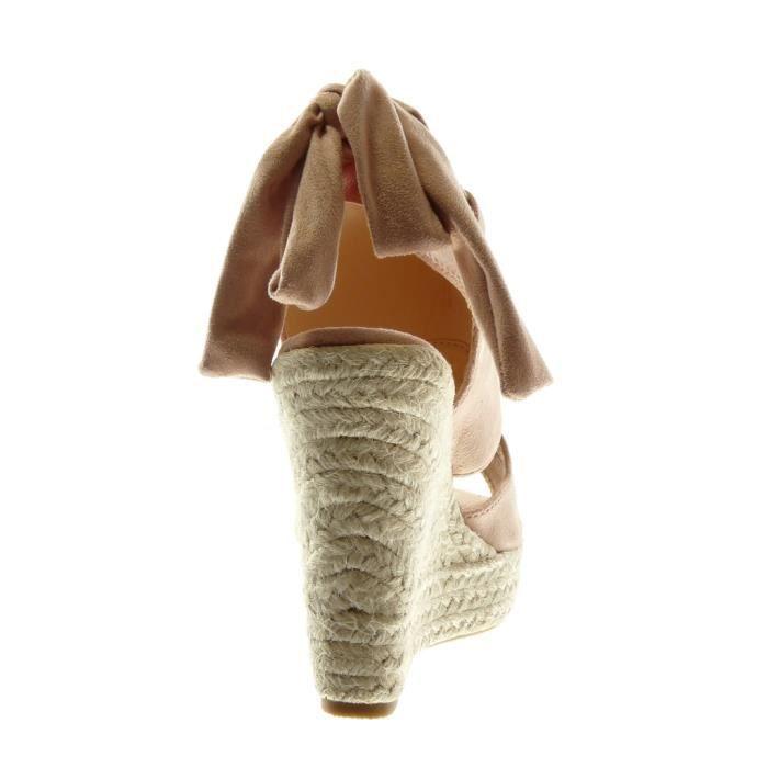 Angkorly - Chaussure Mode Sandale Mule plateforme Peep-Toe Ouverte arrière femme ruban corde tréssé Talon compensé plateforme 13 CM