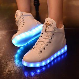 Colorful chaussures de l'automne les hommes et les femmes couple émettant de la lumière LEDlampe chaussures chargement USB 0Snsjus9wK