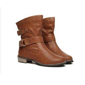 Britannique Femmes style Bottines Strappy bout rond Casual Chaussures à talon épais 12993594 FwUBx