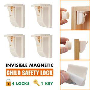 BLOQUE TIROIR 4+1 Enfant Bébé Magnétique Serrure de Sécurité Clé
