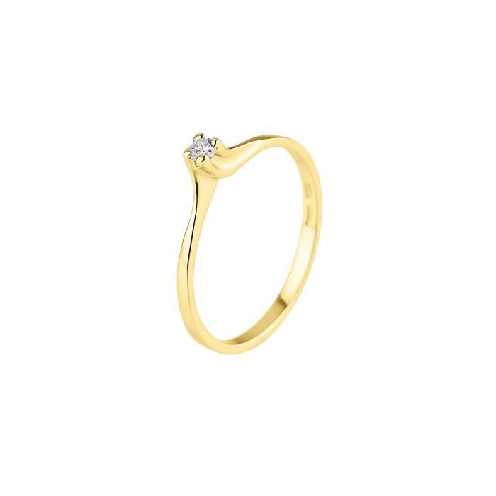 DIAMOND LANE Bague Solitaire Or Jaune 375° et Diamants Femme