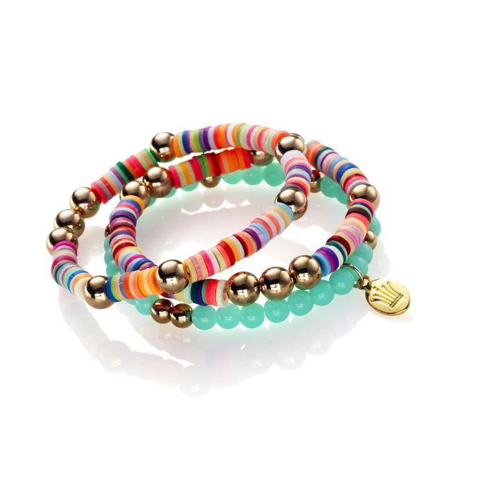 Kit 3 bracelets summer candy - 3 couleurs - longueur 21 cm - Le kit contient tout pour créer 3 bracelets : filKIT BIJOUX