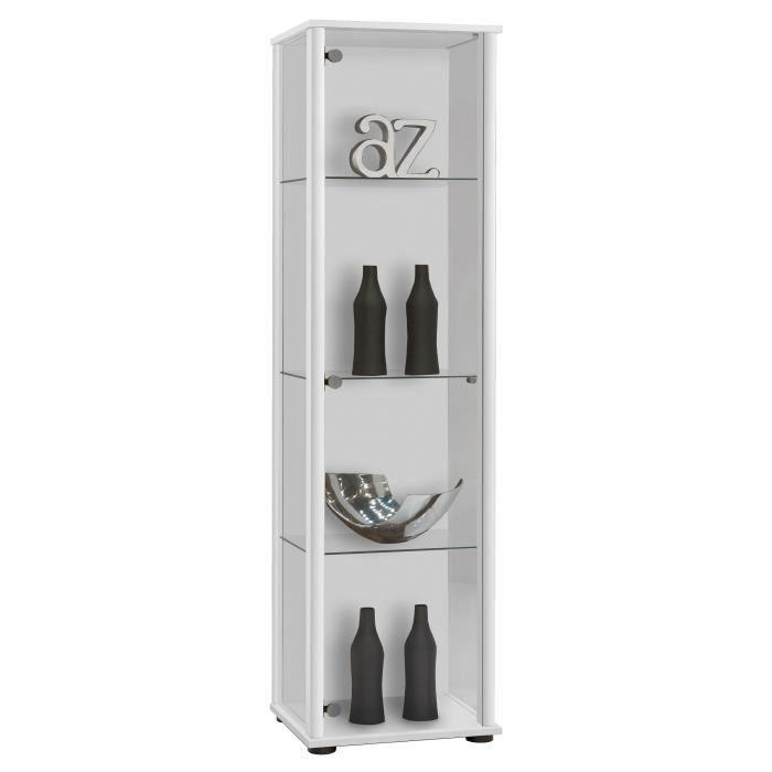 Panneaux de particules mélaminés décor blanc - L 42 x P 36 x H 171 cm - 1 porte, 3 tablettes en verreVITRINE - ARGENTIER - VAISSELIER
