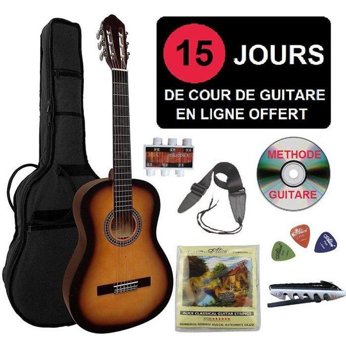 8-13ans Pack Guitare Classique 3//4 Pour Enfant Avec 7 Accessoires rouge