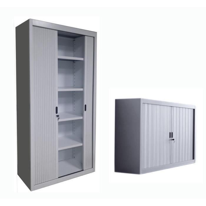 2 pi ces armoire m tallique portes rideaux gris 1 haut. Black Bedroom Furniture Sets. Home Design Ideas