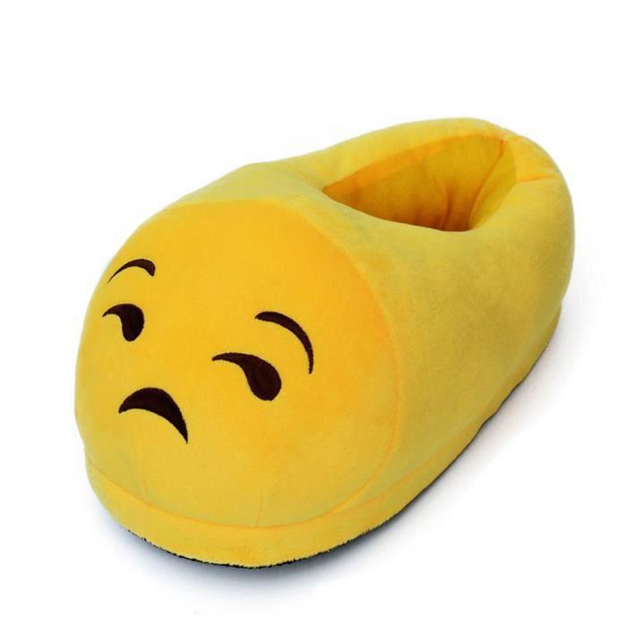 #8 une paire de chaussons pantoufles chaussures amusantes pour maison domestique Expression Imoji par content drôleJaune LWTYS39