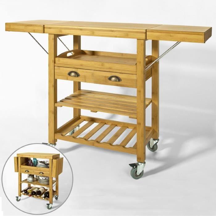 desserte roulante chariot de cuisine en bambou meuble de rangement plans de travail. Black Bedroom Furniture Sets. Home Design Ideas