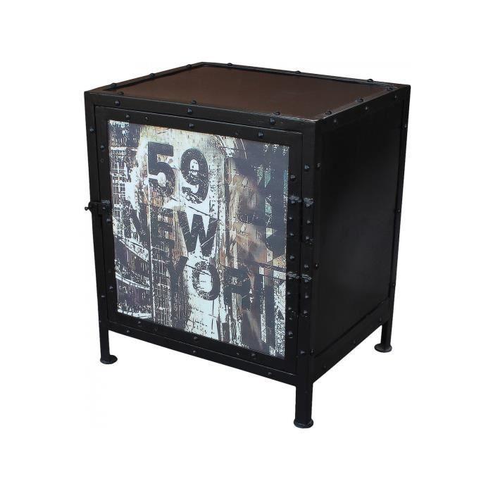 chevets style industriel achat vente pas cher. Black Bedroom Furniture Sets. Home Design Ideas