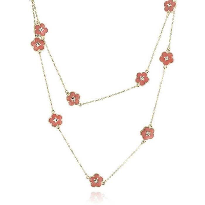 Cadeau Cristal Rouge Couleur Corail Fleur Trèfle Pendentif Plaqué Or 36Dans