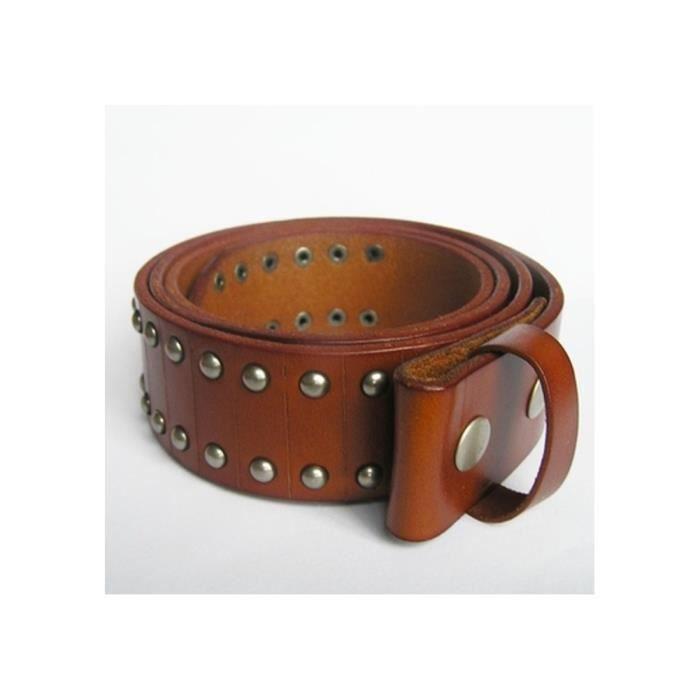 b98d8bd3b22 L 115cm ceinture en cuir véritable marron et rivet homme femme ...