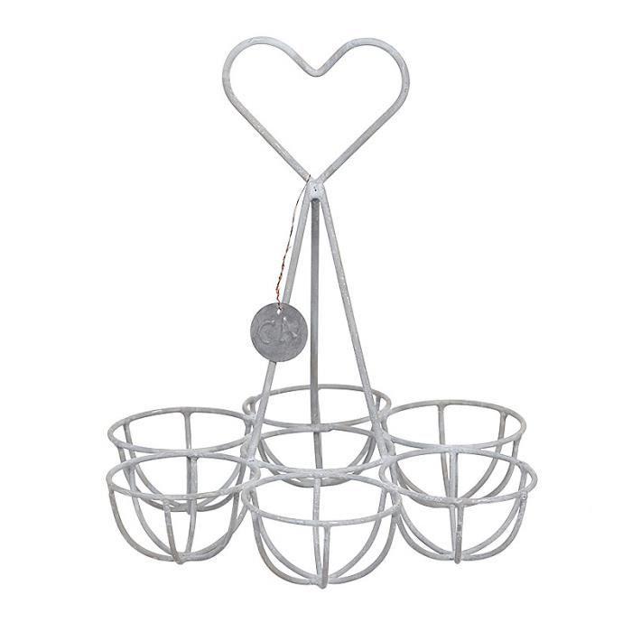 panier porte oeufs en fer gris corbeille de cuisine oeufs au motif coeur 15x15x18cm achat. Black Bedroom Furniture Sets. Home Design Ideas