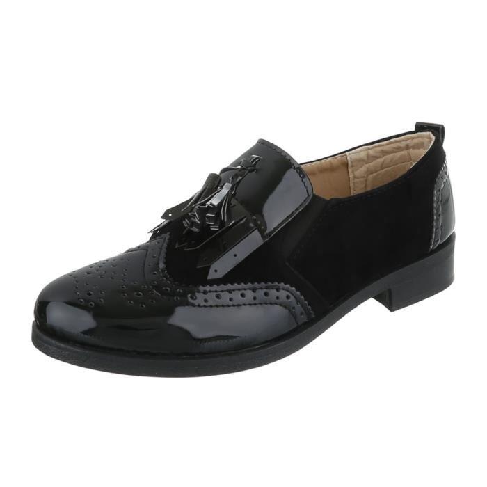 Femme chaussures flâneurs talon bloc noir 40