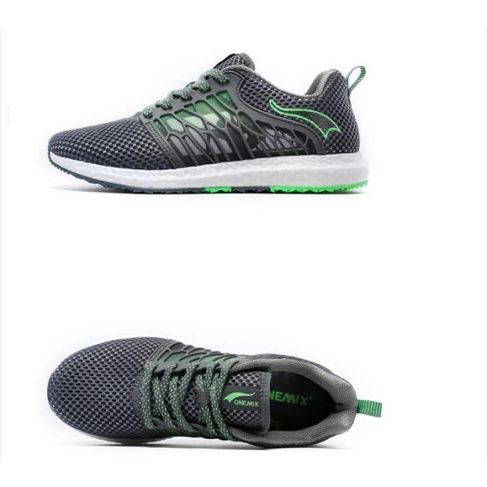 size 40 fb661 2fc8f CHAUSSURES DE RUNNING ONEMIX 1158 Gris vert sport Run sneaker jogging ch