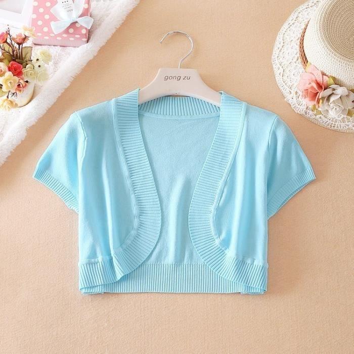 veste Coréen Été Adulte Shirt T Courte tricot Femme Printemps 0YxIv