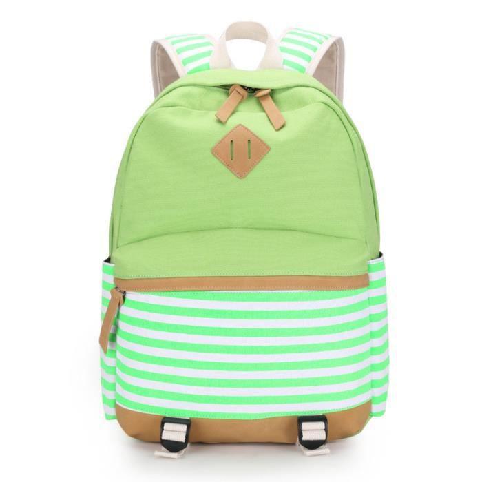 Vert Femme Toile Sacs à dos pour ordinateur rayé de l'école pour les adolescents filles