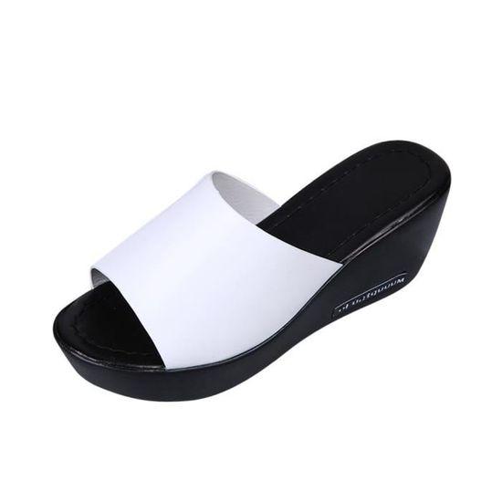 Poisson Pantoufles De Escarpin forme Pente Casual Bouche Sandales Blanc Femmes Plate tsrdhQ