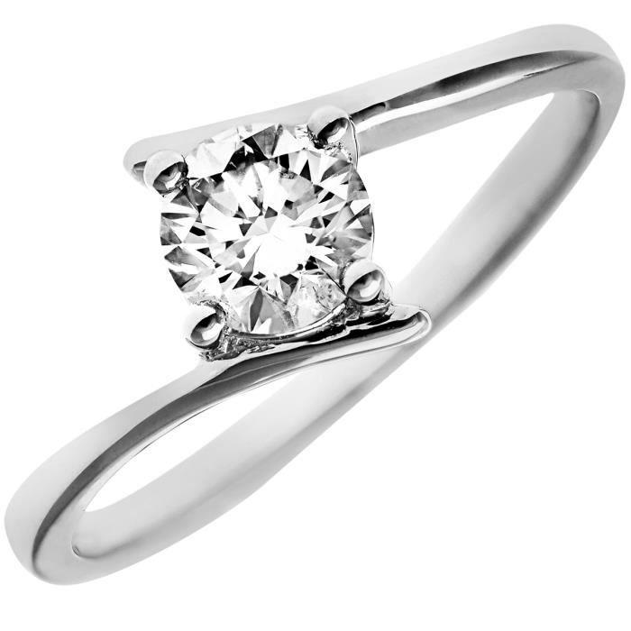 Revoni Bague Solitaire Diamant Or Blanc 750° Femme: Poids du diamant : 0.5 ct - CD-PR0916018KW-P