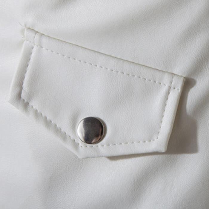Zipper Homme Veste Cuir Hauts Longue Manches Casual Automne Hiver Manteau Mode T0wxfO
