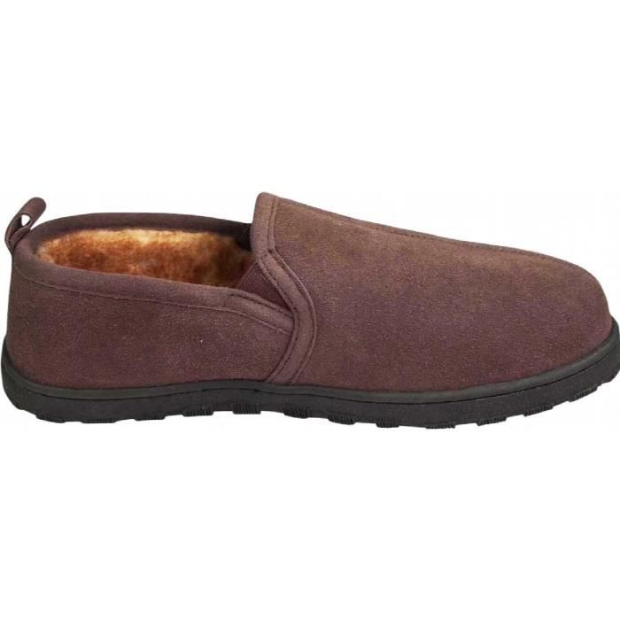 Mens Genuine Leather Cowhide Suede Slippers - Twin Gore Slip On Loafer - Lux Plush Fur Lining GTHAW Taille-48