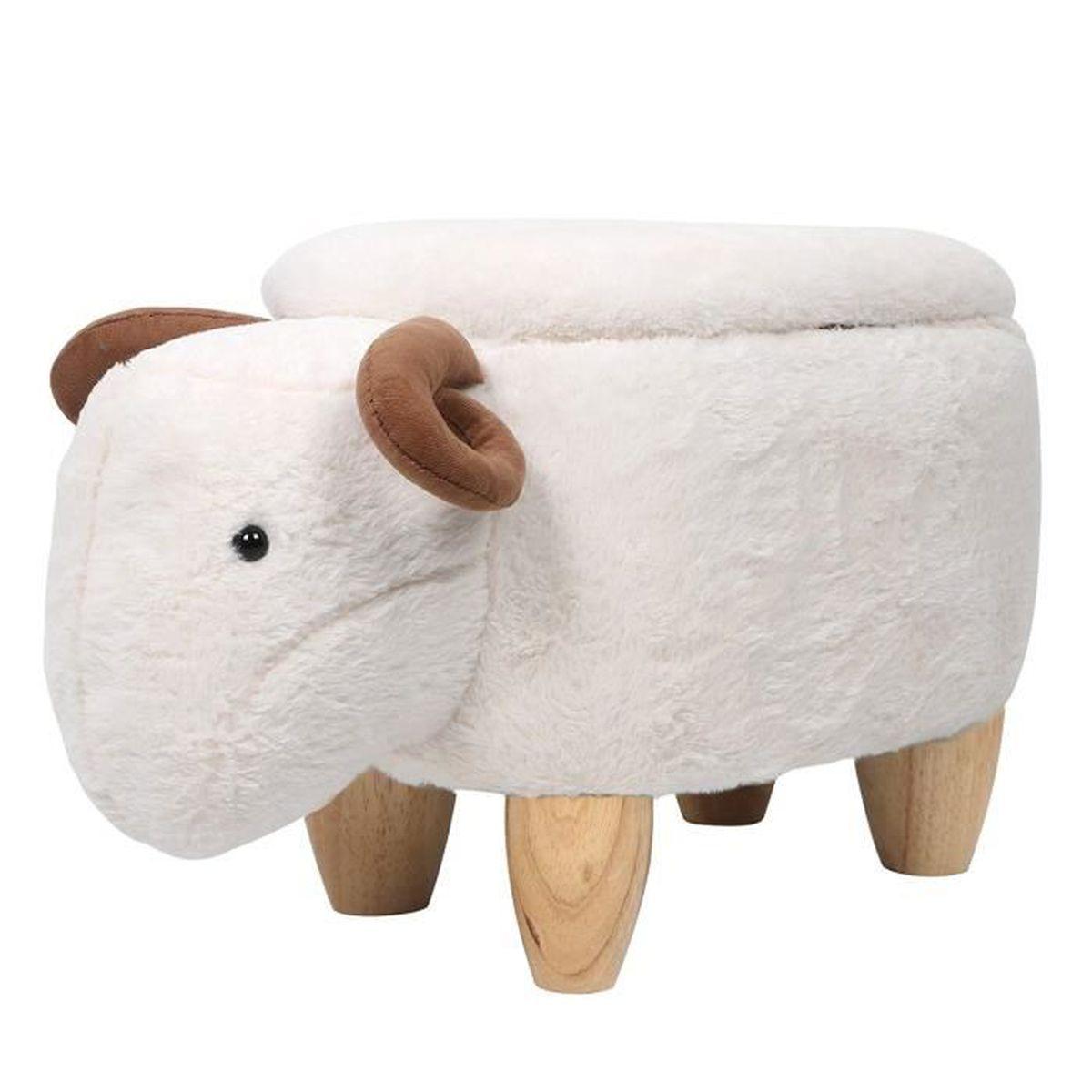 En Bois Heart Blanc Intimate Pour Animal Mouton Ottoman Pouf Coffre Iwmh De Enfants Tabouret Wm Rangement rQdCBexWoE