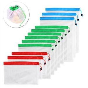 SAC DE CONSERVATION 12pcs Mesh réutilisable sacs de fruits sacs lavabl