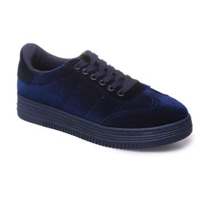 new lower prices new products new lower prices La Modeuse - Baskets basses femme effet velours Bleu - Achat ...