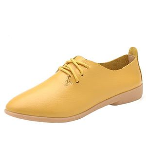 DERBY Reservece  Femmes Leather Flats Shoes Pointed Toe