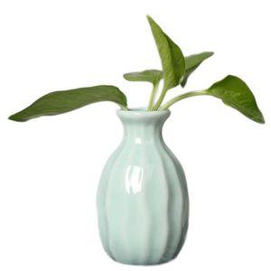 VASE - SOLIFLORE Petit Vase Céramique Bleu Style Simple Mini Vase D