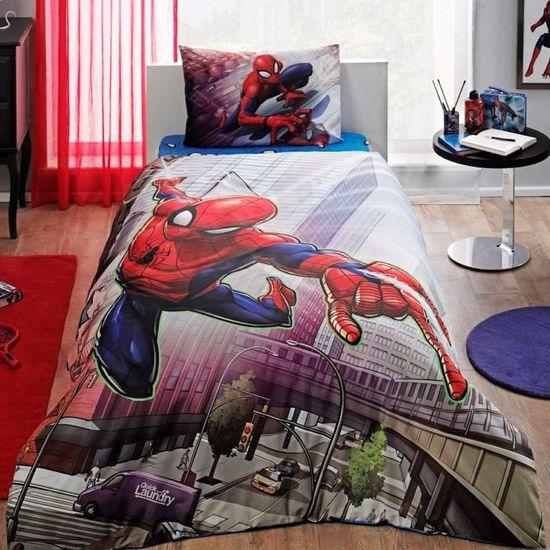 Spiderman Action 100 Coton 1 Personne Ranforce Parure De Lit Avec