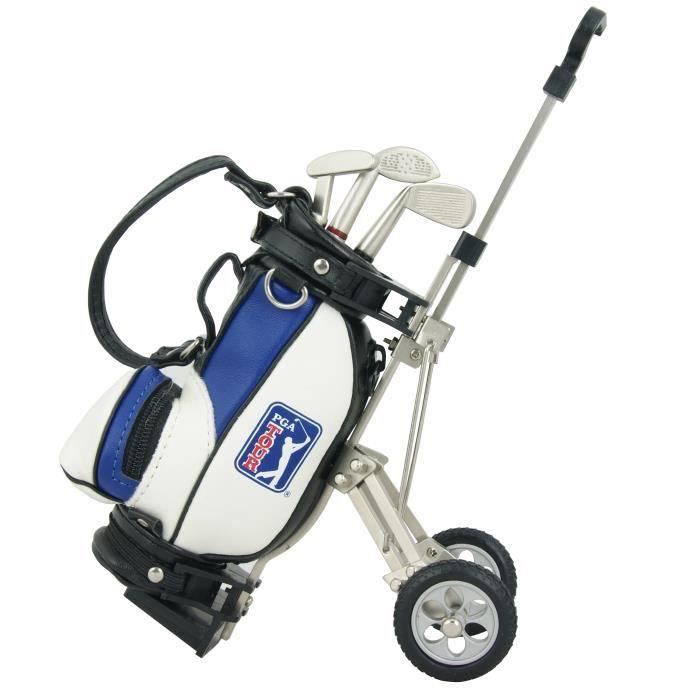 PGA TOUR Coffret Cadeau Chariot de Golf + Stylos - Blanc et Bleu