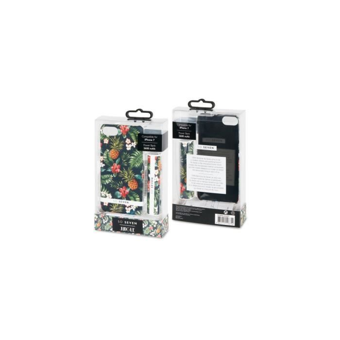 SO SEVEN Bundle JUNGLE ANANAS Coque + POWERBANK 2600 IPHONE 7