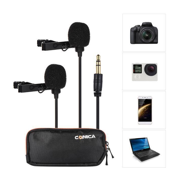 Comica Cvm-d02 Double-tête Clip-on Microphone Condensateur Omnidirectionnel Mic Câble Longueur 4.5m Pour Caméra Smartphone Noir